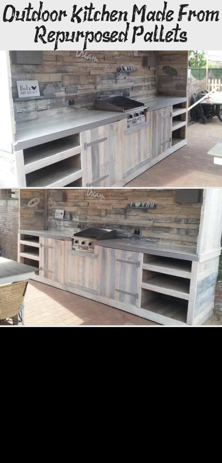 Outdoor Kitchen Made From Repurposed Pallets Home Decor Decor Home Kitchen Outdoor Pallets Repurp In 2020 Outdoor Kitchen Pallet Home Decor Outdoor Kitchen Sink