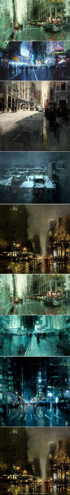 Jeremy Mann cityscapes... - a grouped images picture
