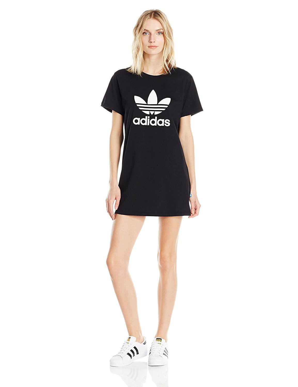 0ea0c0f1f444 Adidas Originals Women's Adidas Originals Women's Trefoil Tee Dress, black/White,  M at Amazon Women's Clothing store: