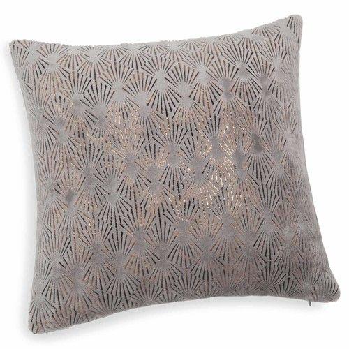 Theotime - Coussin doux gris 40 x 40 cm CHAMBRE Pinterest - weiss grau wohnzimmer mit violett deko