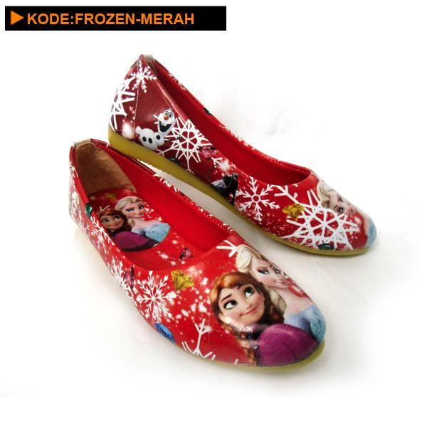 Sepatu Anak Perempuan Frozen Warna Merah Dengan Gambar Sepatu