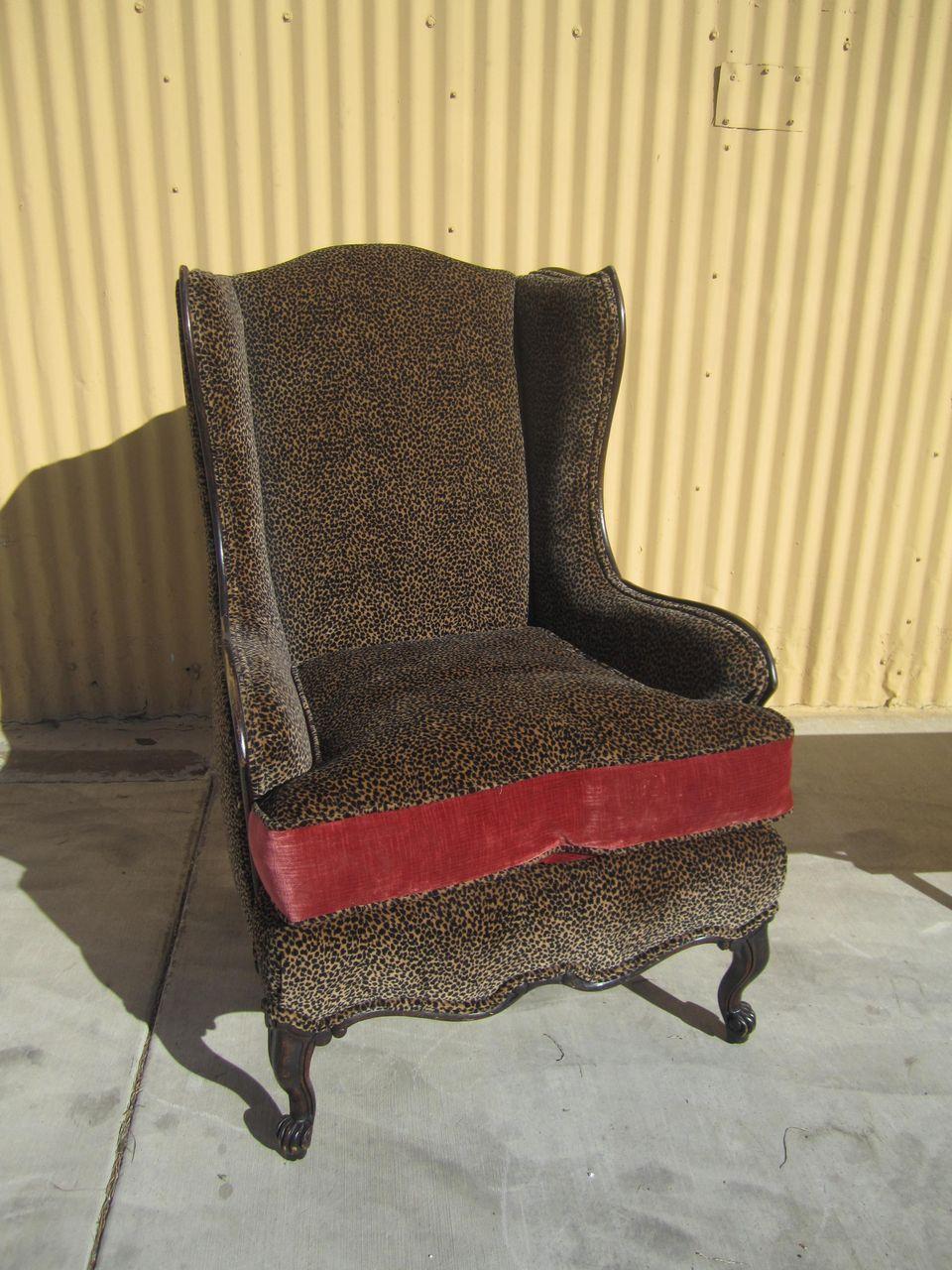 Vintage Wing Leopard Arm Chair Sitting Pretty
