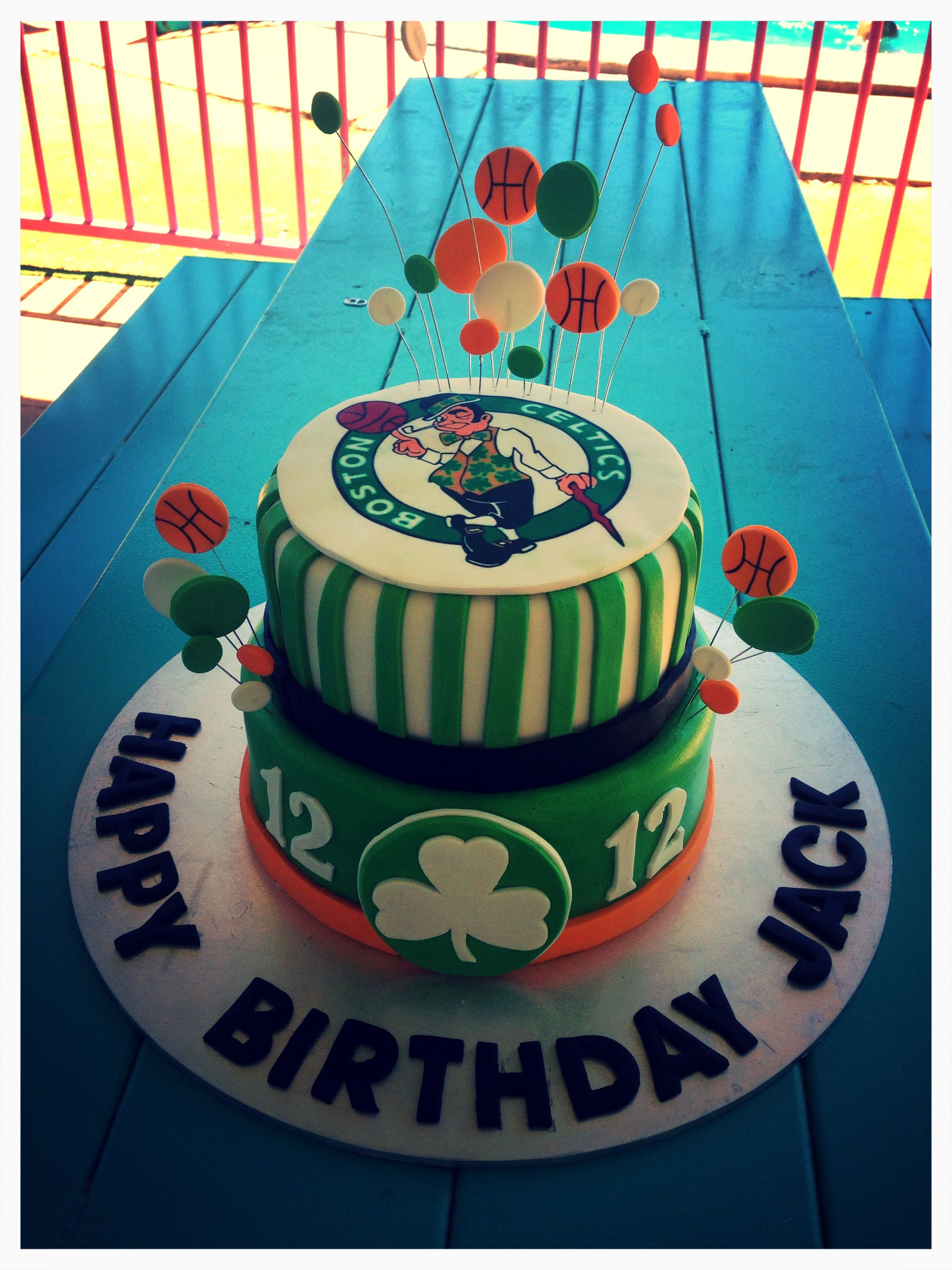 Stupendous Birthday Cake Boston Celtics Basketball Birthday Cake New Personalised Birthday Cards Paralily Jamesorg