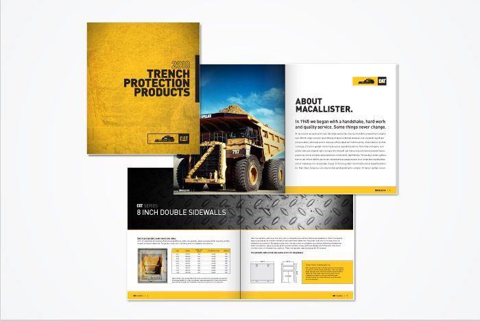 MacAllister Machines brochure and brand division identity by Tactic