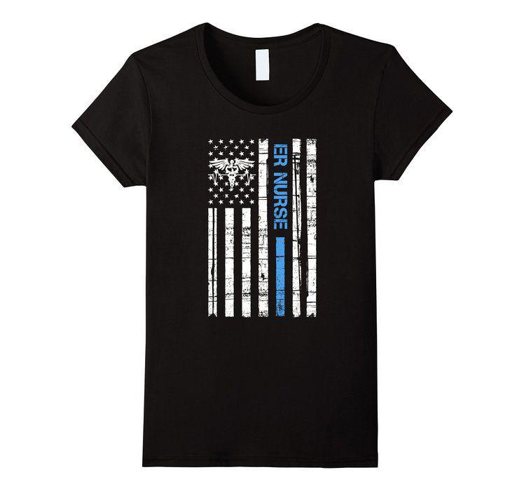 Women's ER Nurse with American Flag vintage T Shirt XL Black
