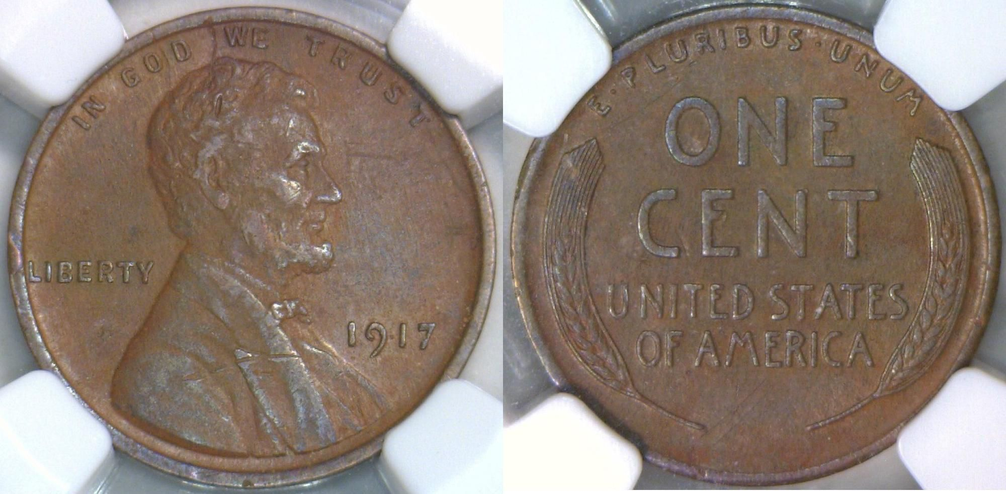 1917-P  Lincoln Wheat Cent in XF