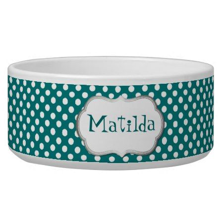 Teal And White Polka Dot Custom Dog Bowl Tap Personalize Right Now Dogbowl Petsupplies
