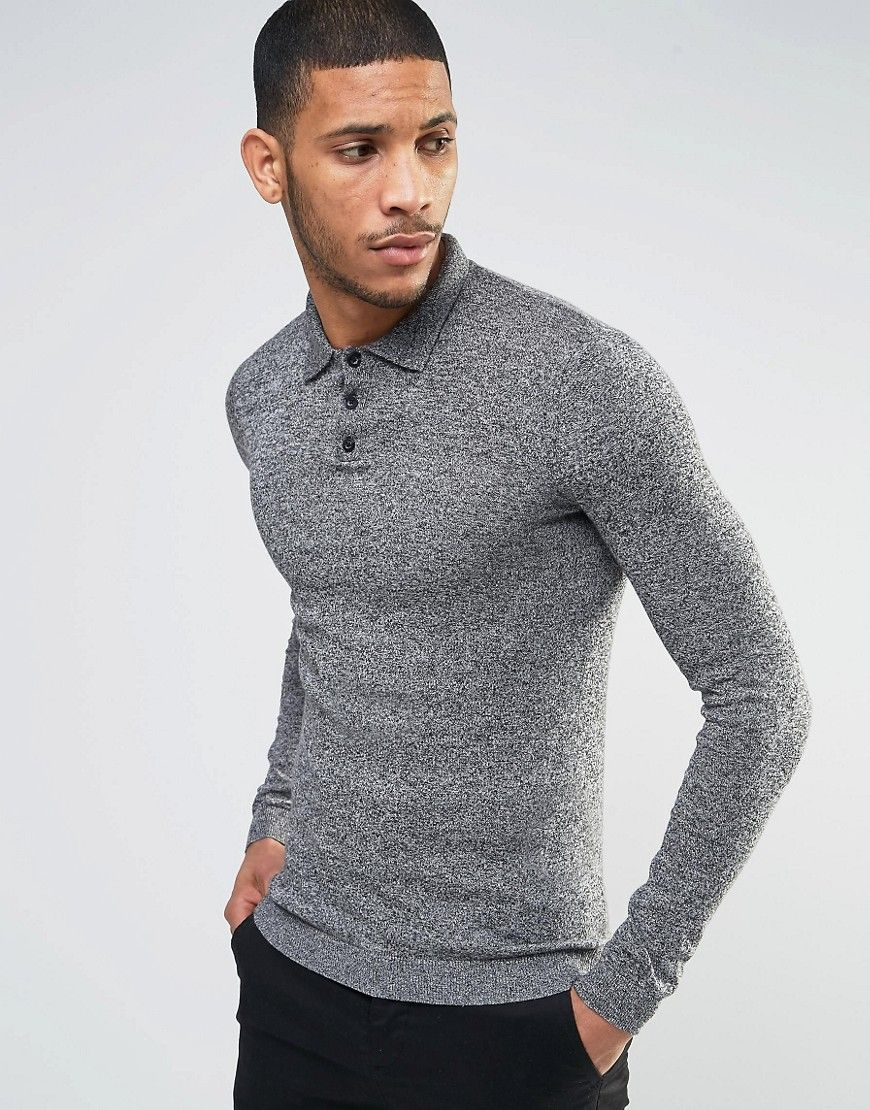 Asos Knitted Muscle Fit Polo Shirt In Gray Twist