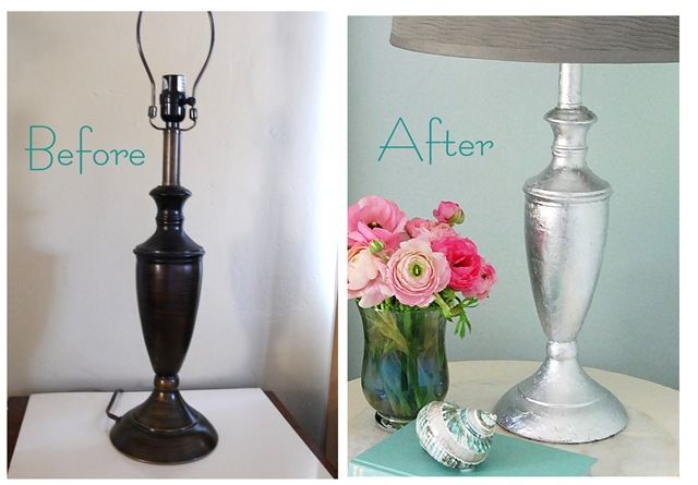 silver leaf lamp before and after