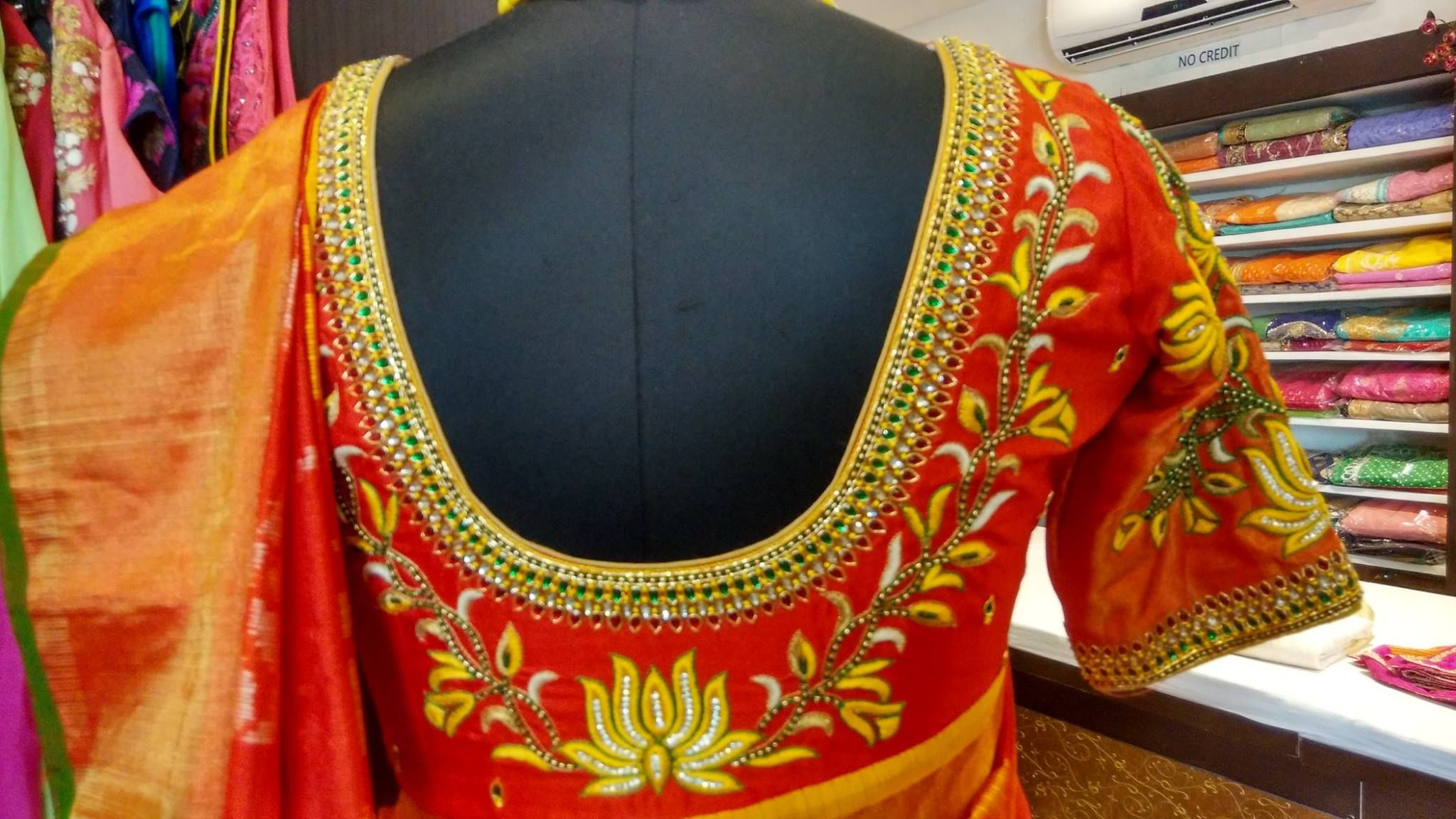 Designer Blouses By Gayathri Reddy Hderabad Contact 9246443366 040 27113733 Blouse Work Designs Maggam Work Blouse Designs Blouse Designs