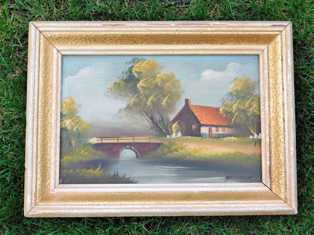 cadre en bois patine creme et doree huile sur toile signee 27cm x 37 cm peintures tableaux. Black Bedroom Furniture Sets. Home Design Ideas