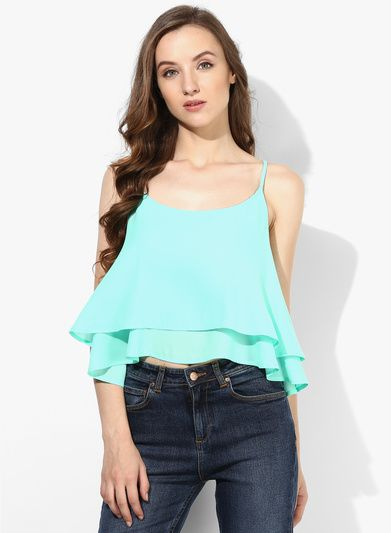 4af7a370b83949 Buy Alia Bhatt For Jabong Aqua blue crop top for Women Online India ...