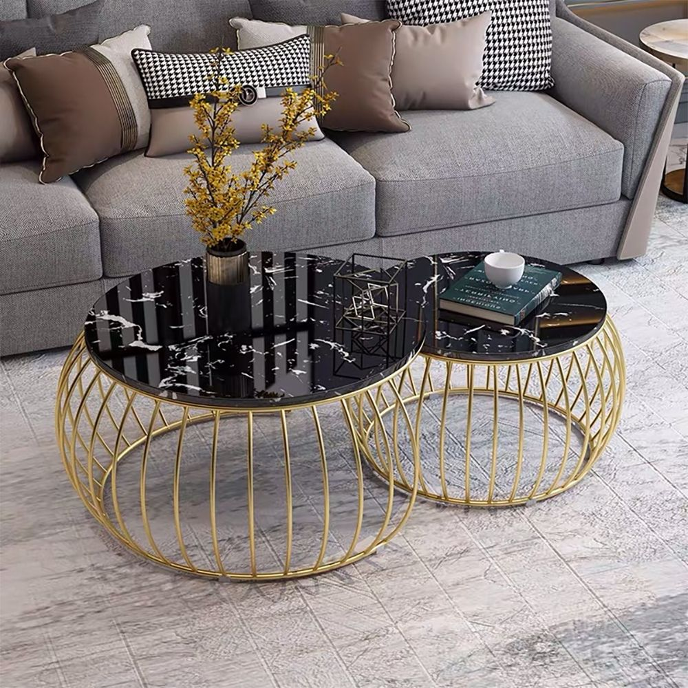 Modern Round Coffee Table Sets With Marble Top Metal Frame 2 Piece Black In 2021 Round Coffee Table Modern Coffee Table Living Room Coffee Table [ 1000 x 1000 Pixel ]