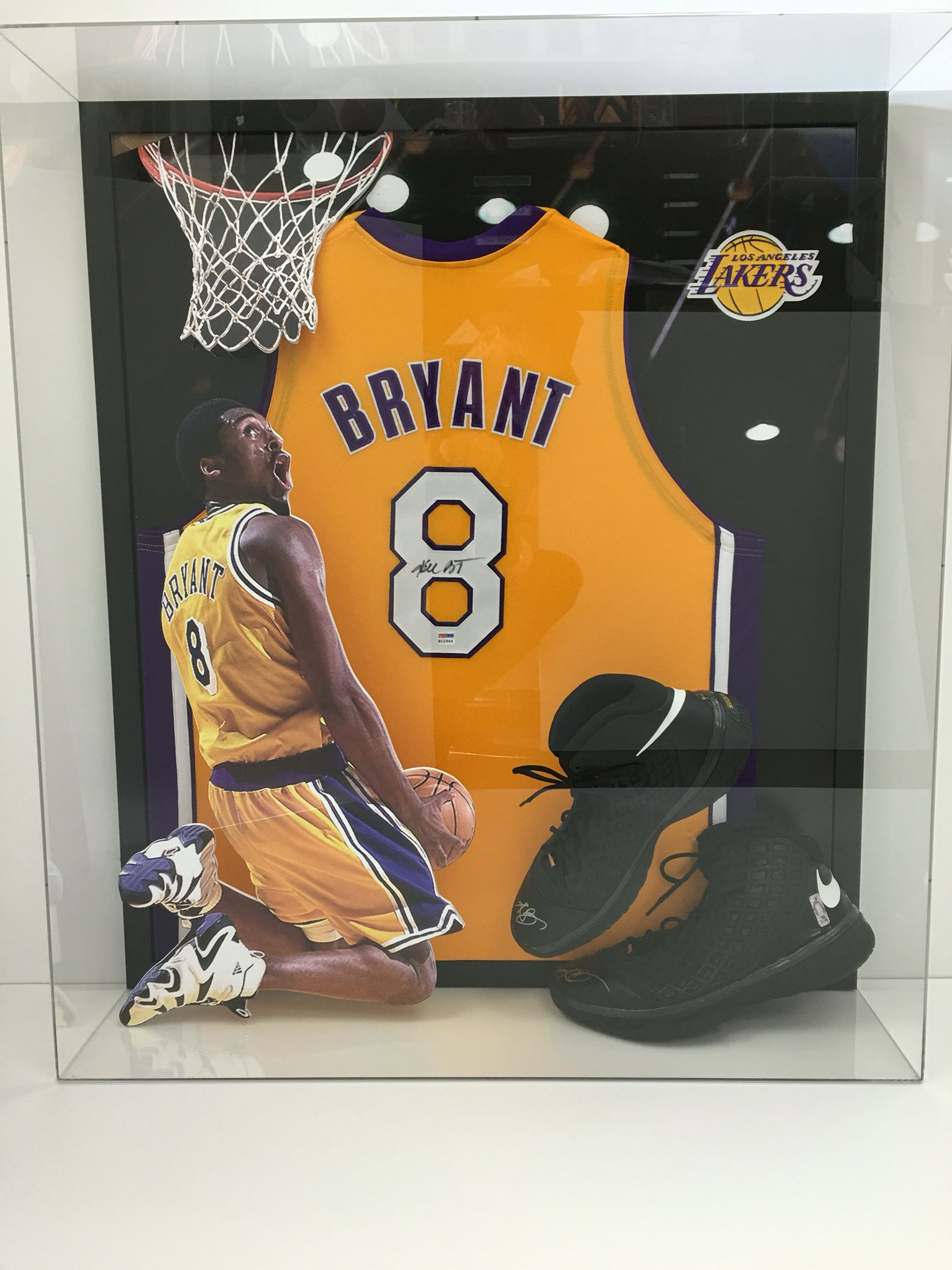 bfb69c57a0c Kobe Bryant three-dimensional Jersey plexi display with autograph Game worn  shoes and Jersey!