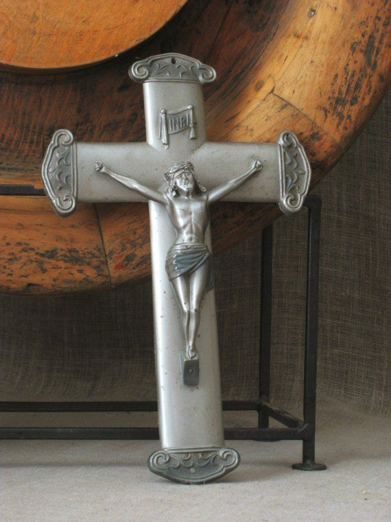 Antique Metal Crucifix, Cross, Silver, Religious, Jesus, Icon, Religion, Altar, Crosses, Cast, Chris #churchitems