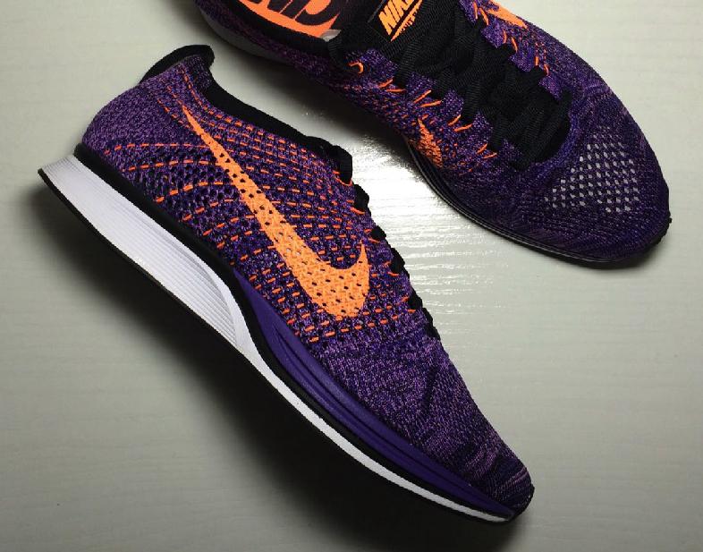 Men's Nike Flyknit Racer Atomic Purple Orange Sneakers : Q62m7061
