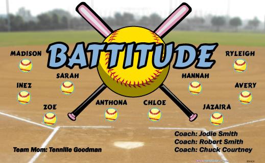 Battitude Vinyl Banner B56420 Digitally Printed Vinyl Softball Baseball And Little League Sports Team Banner Team Banner Sports Team Banners Softball Banner