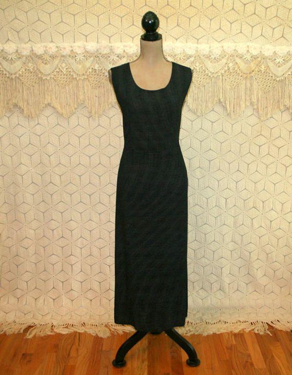 77e2997e87b52 90s Plus Size Black Maxi Jumper Sleeveless Summer Dress Large XL Casual  Scoop Neck Long Dress Vintage Clothing Womens Plus Size Clothing