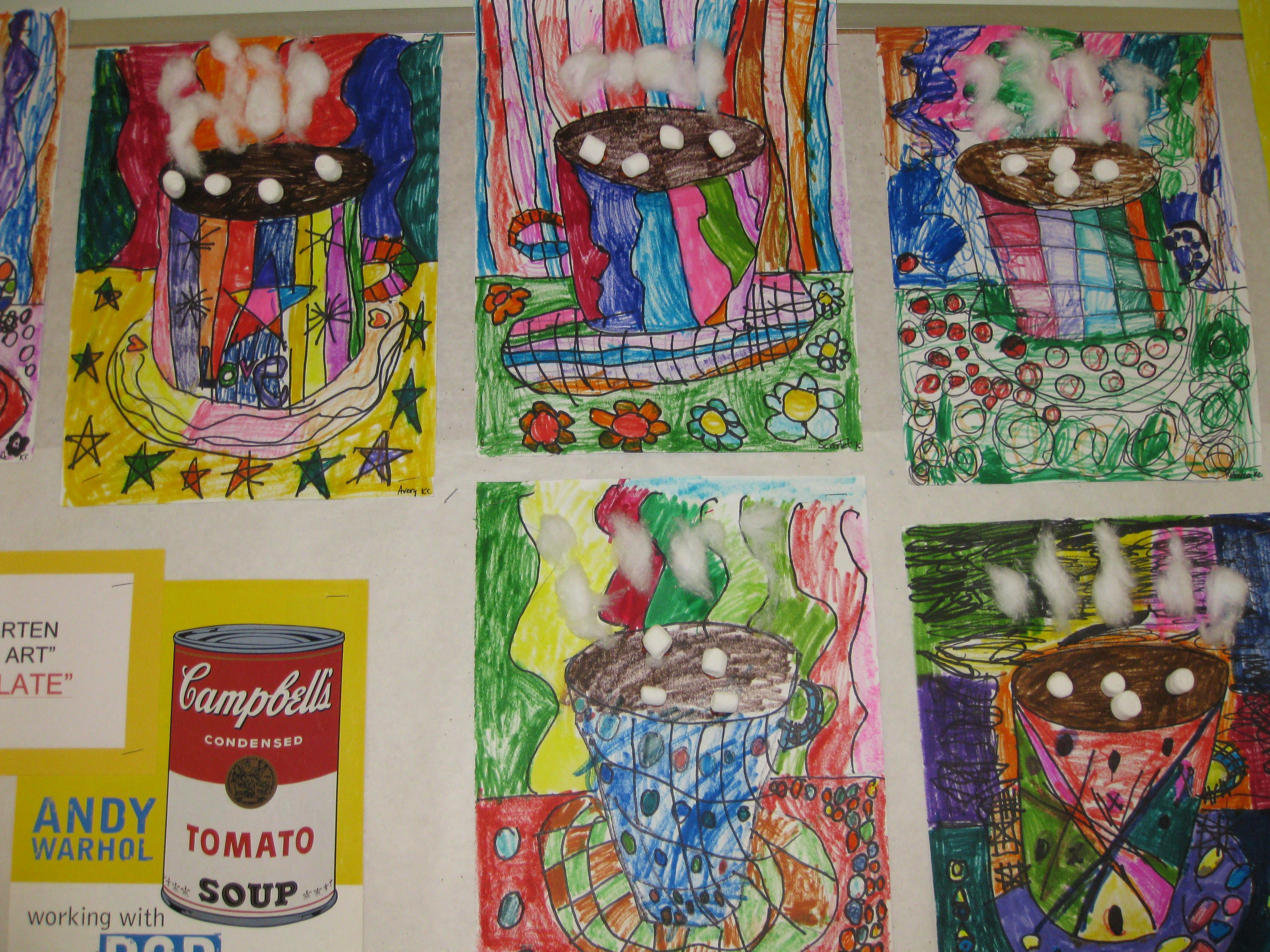 My Kindergarten Explored Pop Art With Cups Of Hot