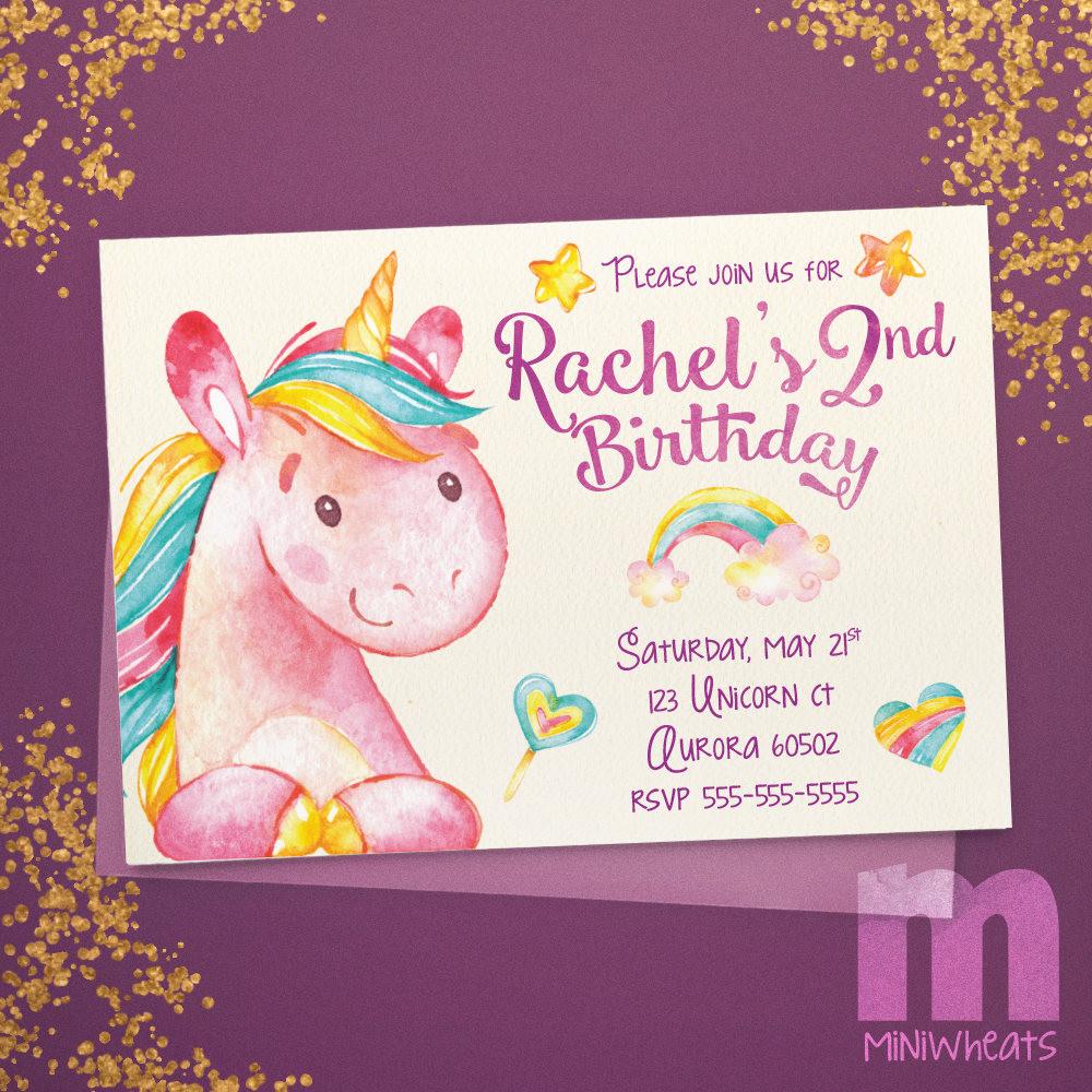 unicorn kids birthday invitation kids20 best ideas