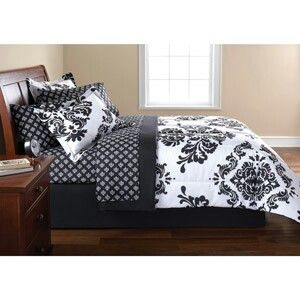 Black & white damask pattern bedding set