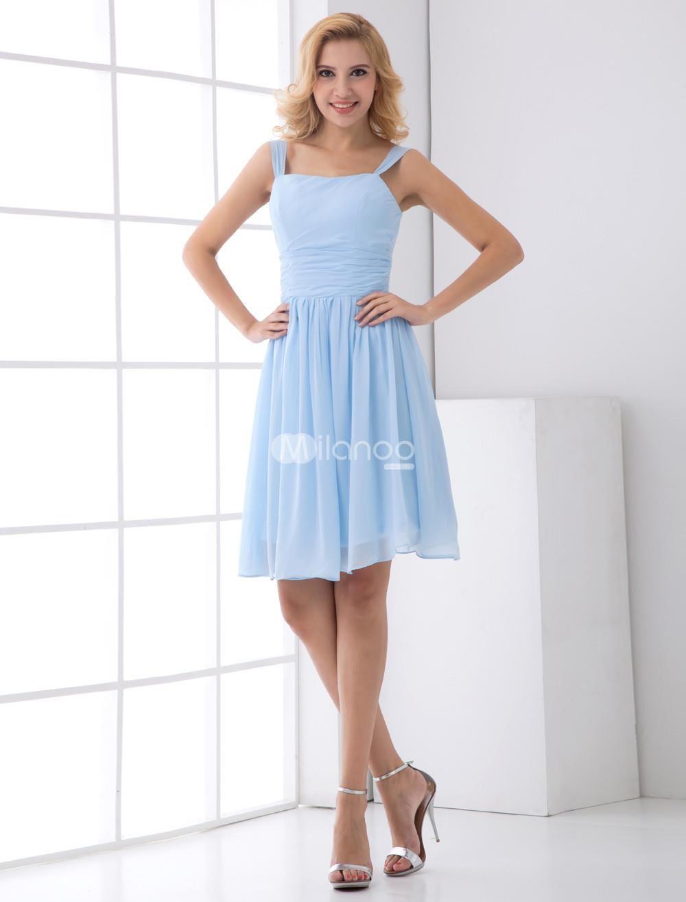 I love this style aline light sky blue chiffon short wedding