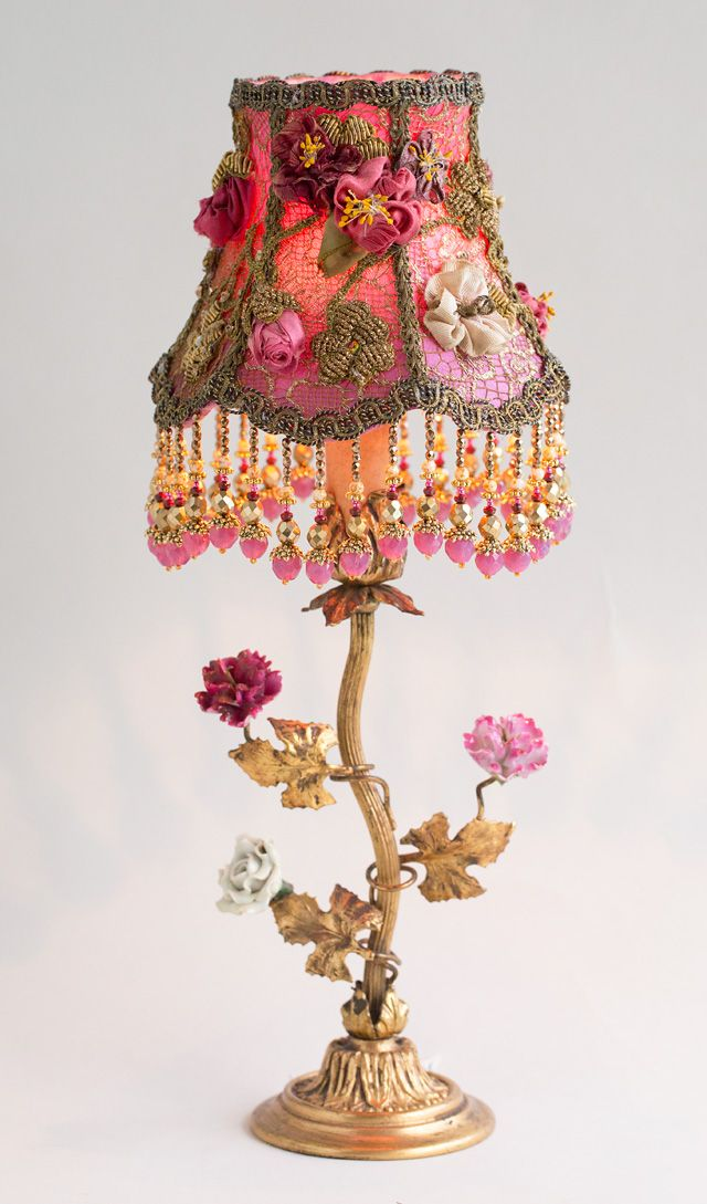 Nightshades Victorian Lampshade With Antique Silk Ribbon Roses Victorian Lamps Victorian Lampshades Antique Lamps