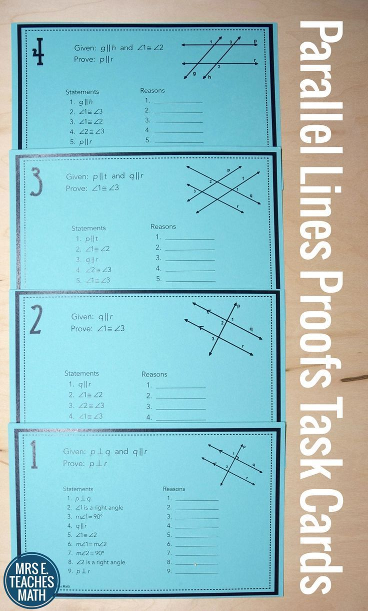Parallel Lines Proofs Task Cards | High school, Activities and Students
