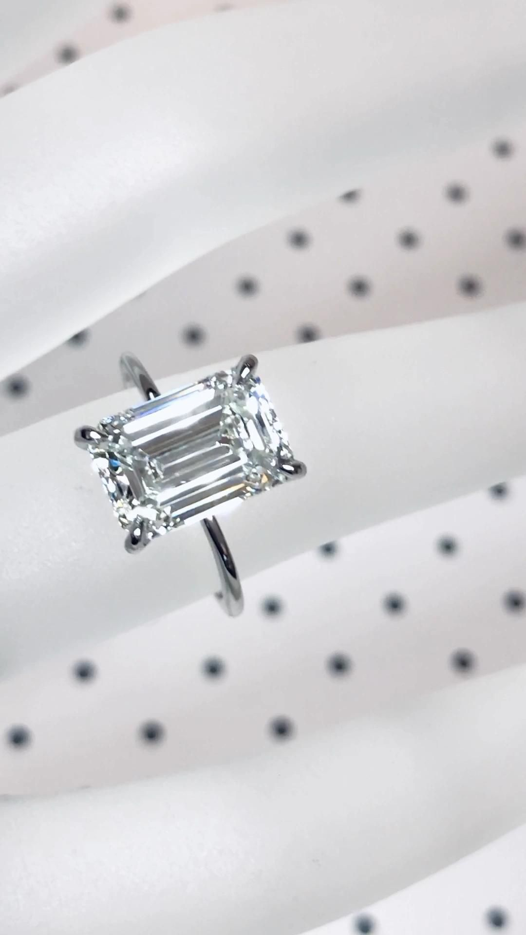 Designed with elegance and simplicity for a one of a kind ❤️ love. Featuring an emerald cut solitaire diamond engagement ring in platinum. By Ascot Diamonds Atlanta.   #ascotdiamonds #emeraldcut #solitaireengagementrings