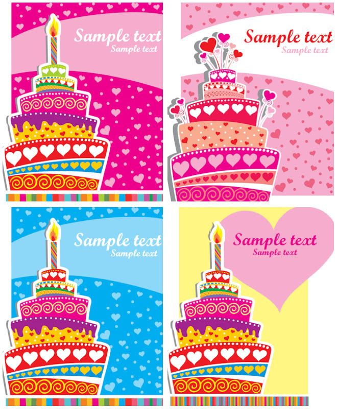 Set of 4 vector colorful Happy Birthday card templates with vivid - happy birthday cards templates