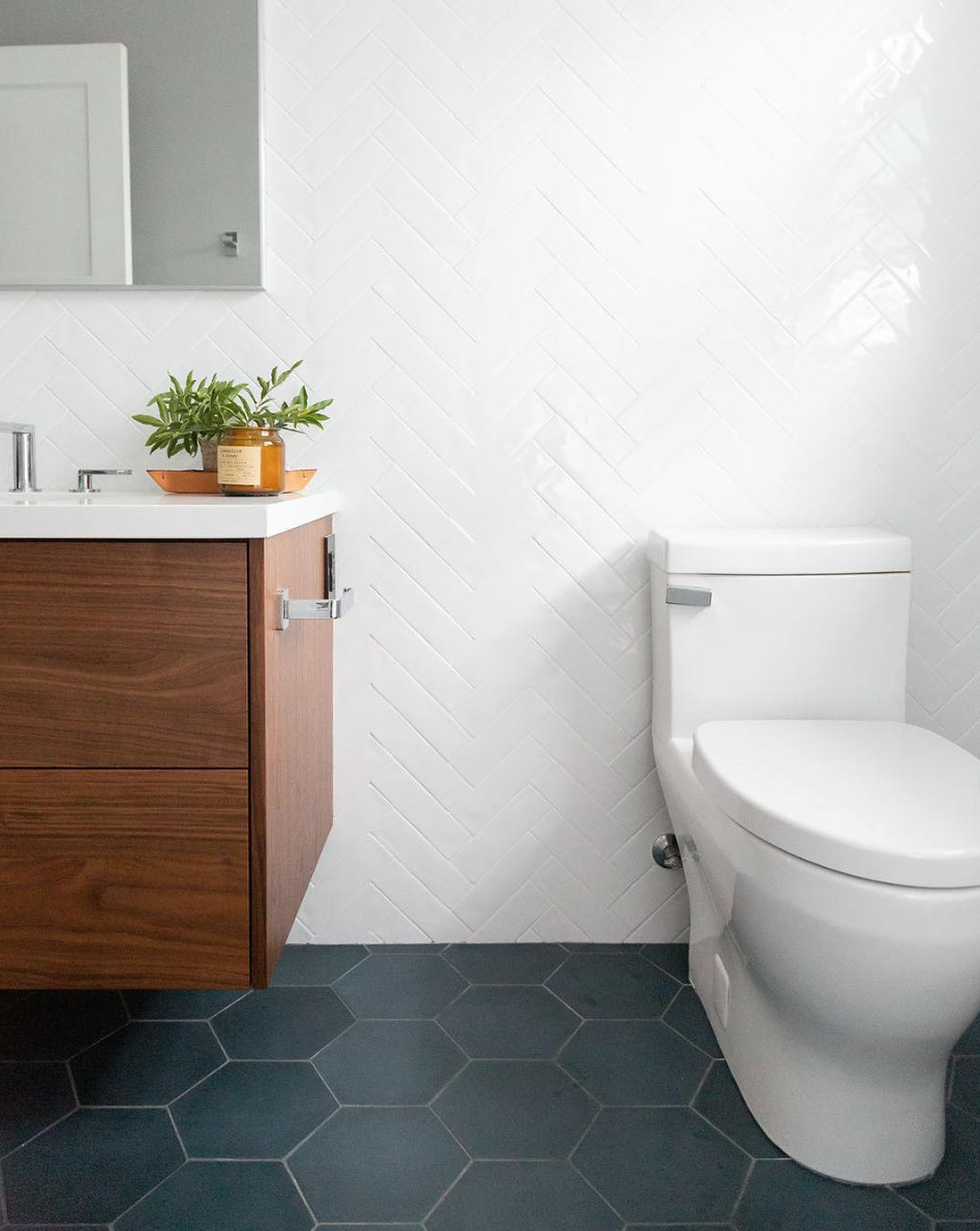 Large Grey Hex Floor Tile And White Herringbone Wall Tile