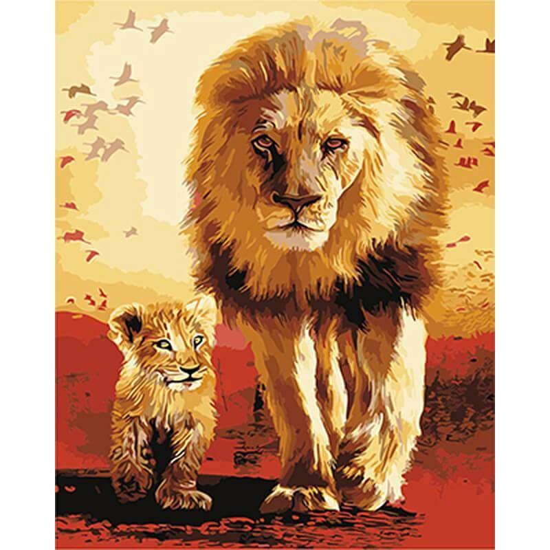 malen nach zahlen  löwe mit nachwuchs  gemälde auf