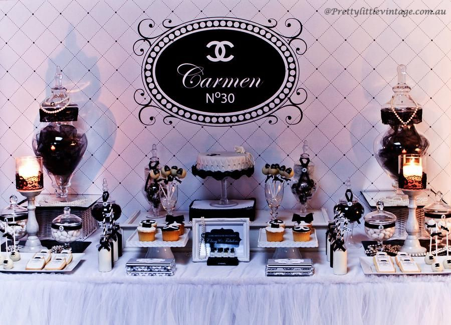 Chanel inspired carmen dessert table party ideas for Mesas dulces cumpleanos adultos