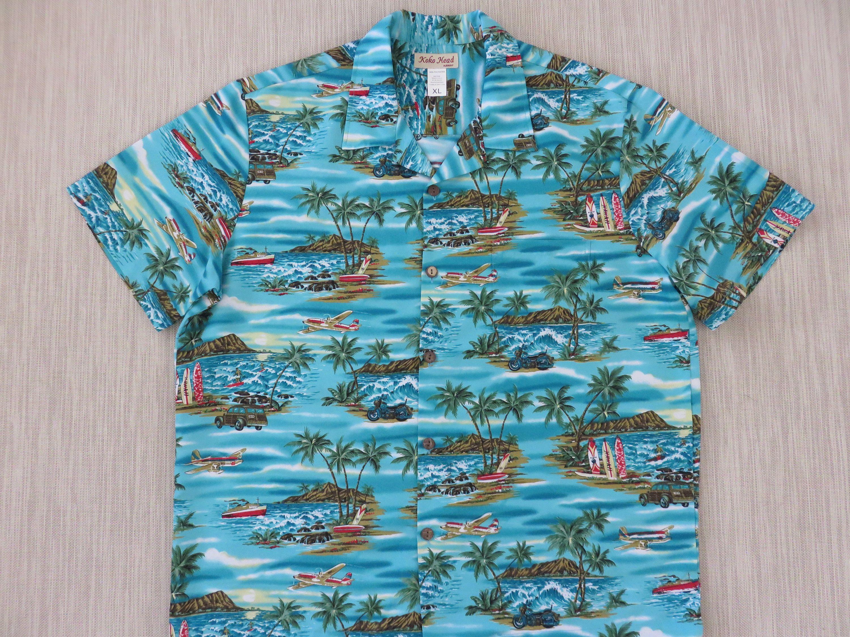 fbca1bec Mens Hawaiian Shirt KOKO HEAD Surfer Aloha Shirt Hawaii Airplane Tours  Cruise Motorcycle Woody Vintage Camp - XL - Oahu Lew's Shirt Shack by ...