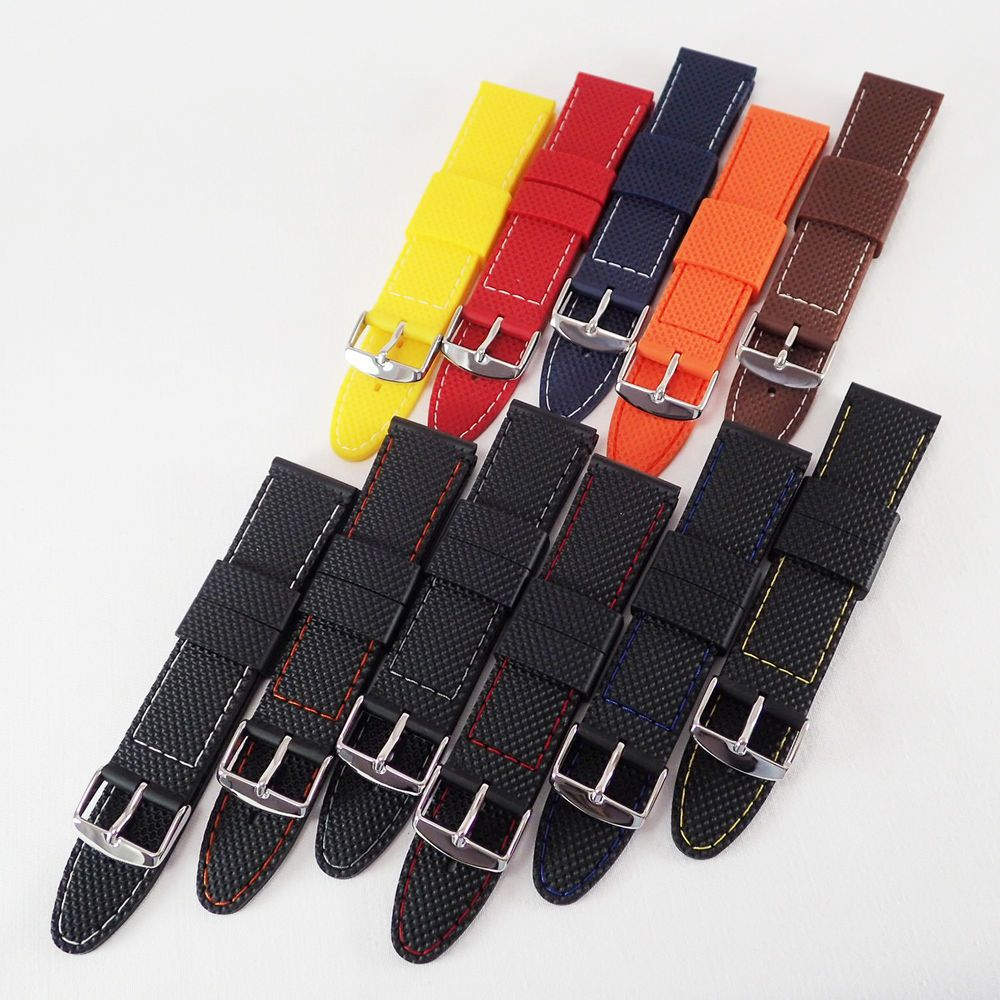 49ff3c41cbf BLACK  Waffle  Rubber Silicone Watch Straps 18-22mm 6 Rubber   6 Stitch