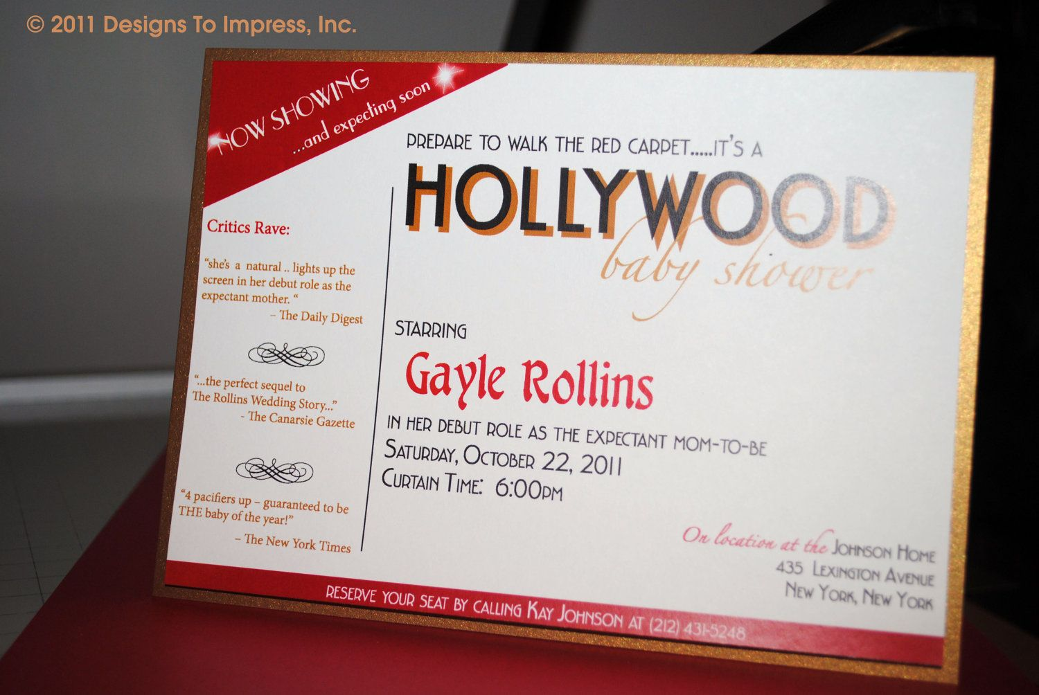 HOLLYWOOD themed baby shower invitation star is born red carpet ...