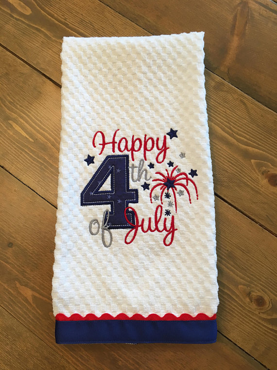 4th Of July Embroidered Kitchen Towel Dish Towel Tea Towel