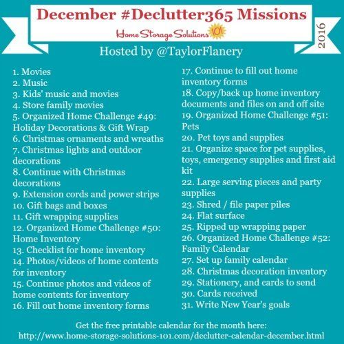 Join the #Declutter365 missions on Instagram and show off what you declutter. Here are your 15 minute missions for December! Follow taylorflanery on Instagram to see the missions daily.