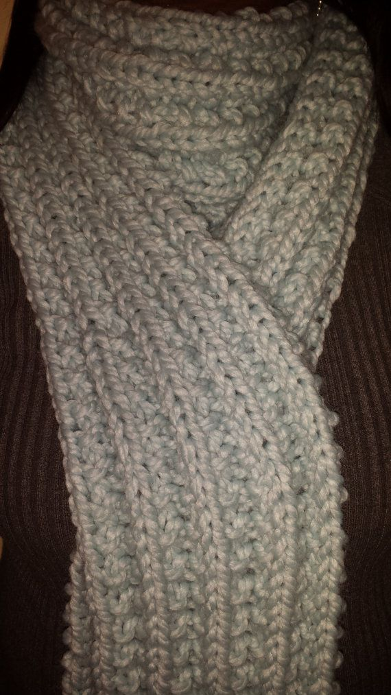 Chunky DoubleWrap ExtraLong Scarf in Soft Blue by AValentineDesign ...