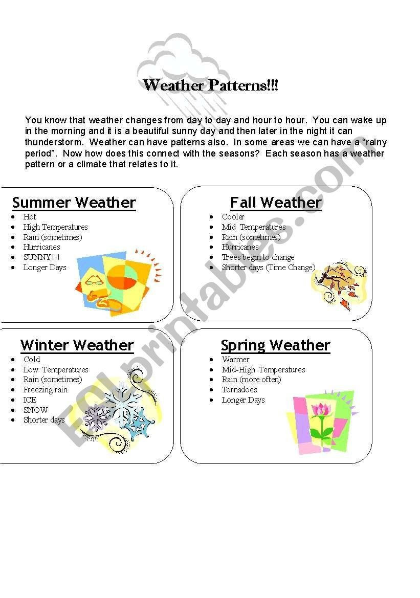 Weather Patterns Worksheet Answers Weather Patterns Esl Worksheet By Dzdancindiva Pattern Worksheet Weather Patterns Kindergarten Worksheets Sight Words