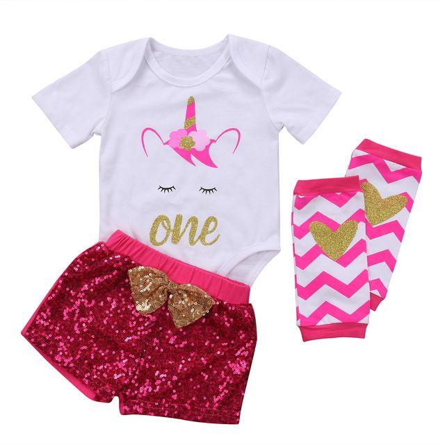 00621b3c64e1 UK 3Pcs Unicorn Infant Baby Girl Romper Tops+Sequins Shorts+Leg ...