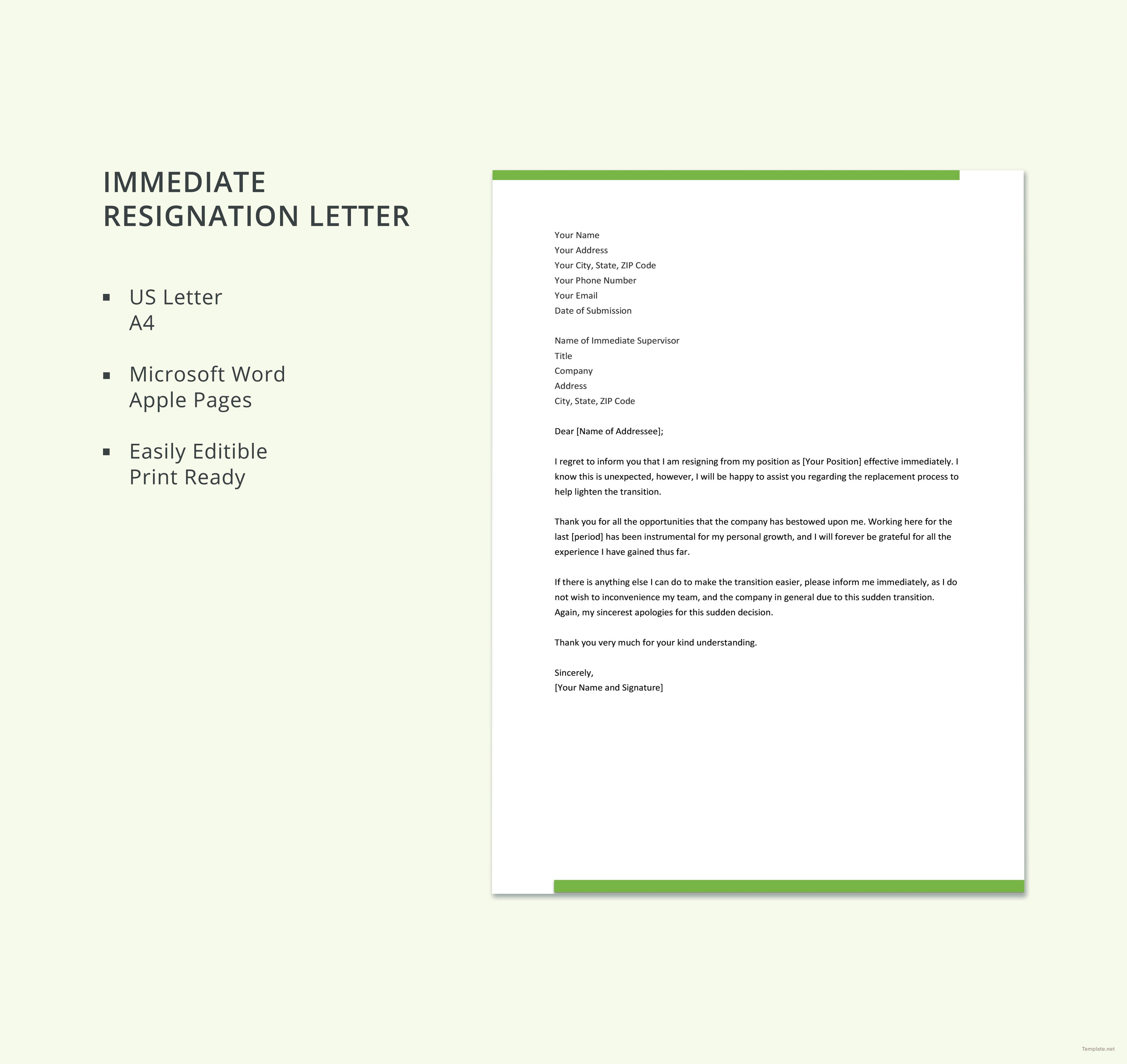 Free Immediate Resignation Letter | Projects to Try ...