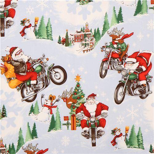 Santa Claus Motorbike Christmas Fabric Alexander Henry Rpm Santa Christmas Fabric Fabric Christmas Fabric Wrapping Paper Christmas Fabric