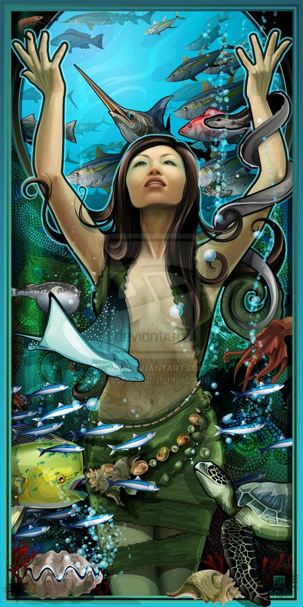 Goddess of Seafood by echo-x.deviantart.com on @deviantART - Eighth in a series of posters for Buford Highway Farmer's Market (a world famous gourmet grocer) in Atlanta, Georgia.