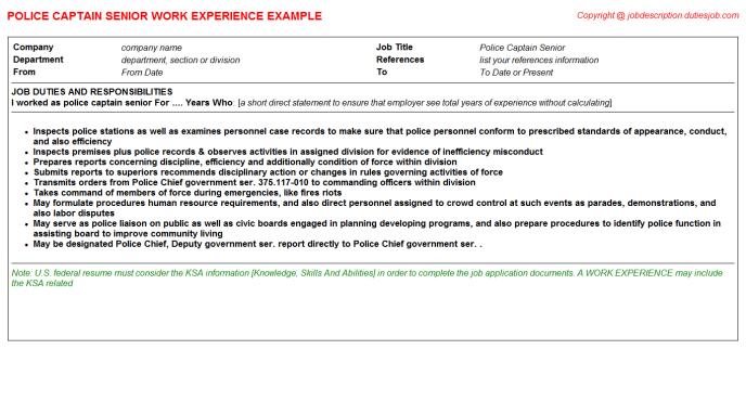 Police Captain Resume Examplecareer Resume Template Career Resume Template