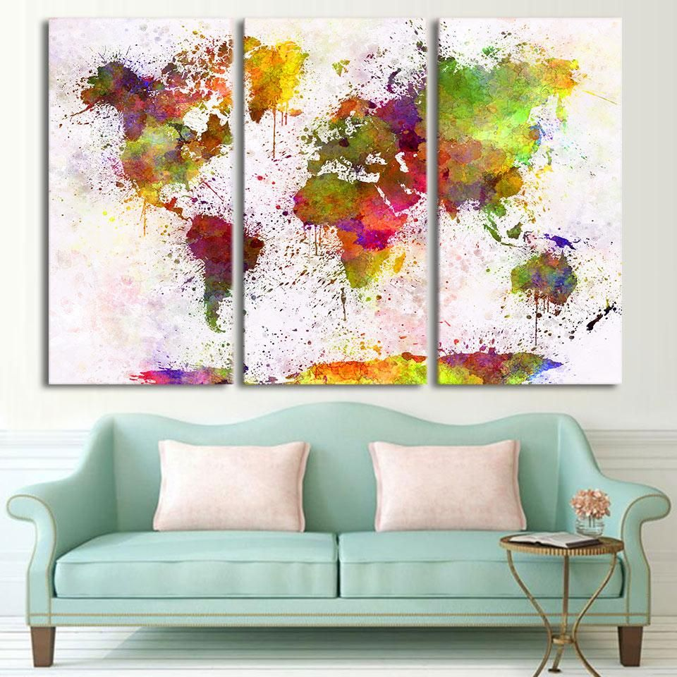 Hd printed 3 piece canvas art vintage world map painting room decor form combined material canvas brand name artsailing type canvas printings frame gumiabroncs Image collections