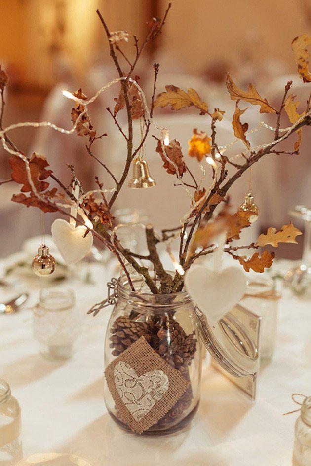 Decoraç u00e3o de casamento com galhos secos Centros de Natal Wedding table centerpieces, Wedding  -> Decoração Festa Folhas De Outono