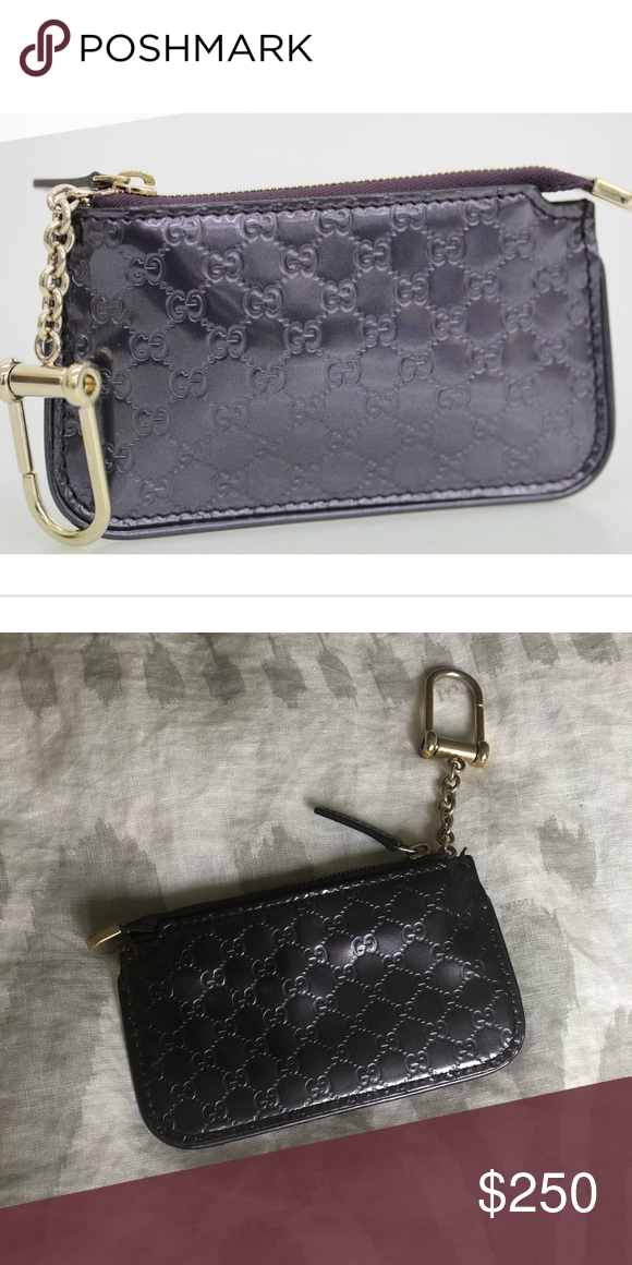 2e2e1f960572e Gucci Coin Purse Keychain Dark purple embossed leather coin purse key chain  - holds credit cards   ID Gucci Accessories Key   Card Holders
