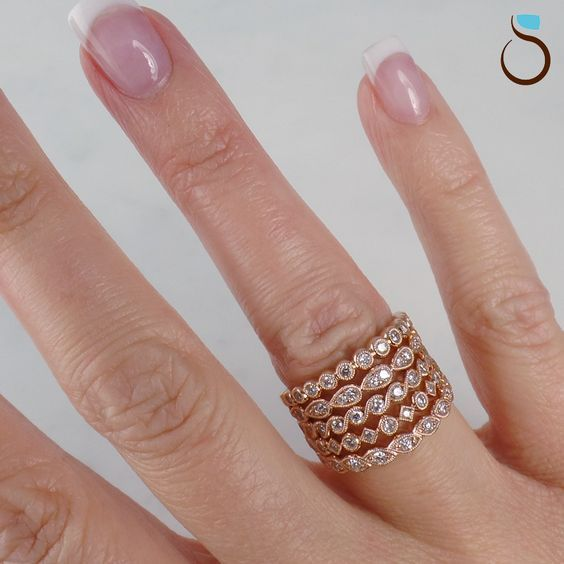 Sylvie Stackable Fashion Rings Or Wedding Bands In Rose Gold Antique Engagement Rings Antique Ring Settings Engagement Ring Wedding Band