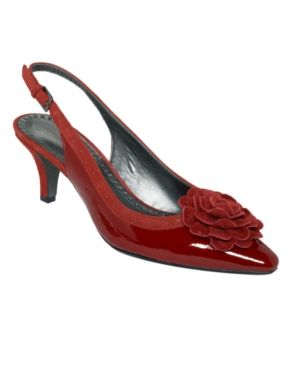 Red patent slingback with floral.